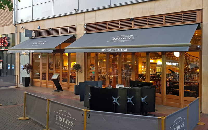 cafe awnings by Deans for Browns