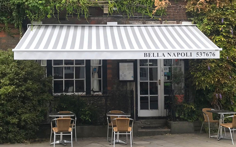 Restaurant awning by Deans for Bella Napoli