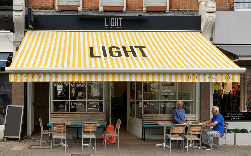 Restaurant awning for Light on the Common