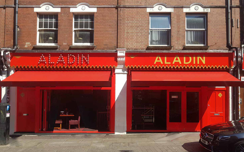 Restaurant awning by Deans for Aladdin