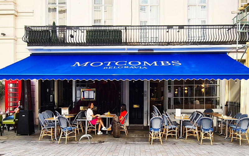 cafe awnings by Deans for Motcombs