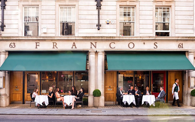 Classic restaurant awning by Deans for Francos