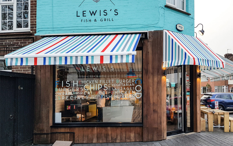 cafe awnings by Deans for Lewis Fish & Grill