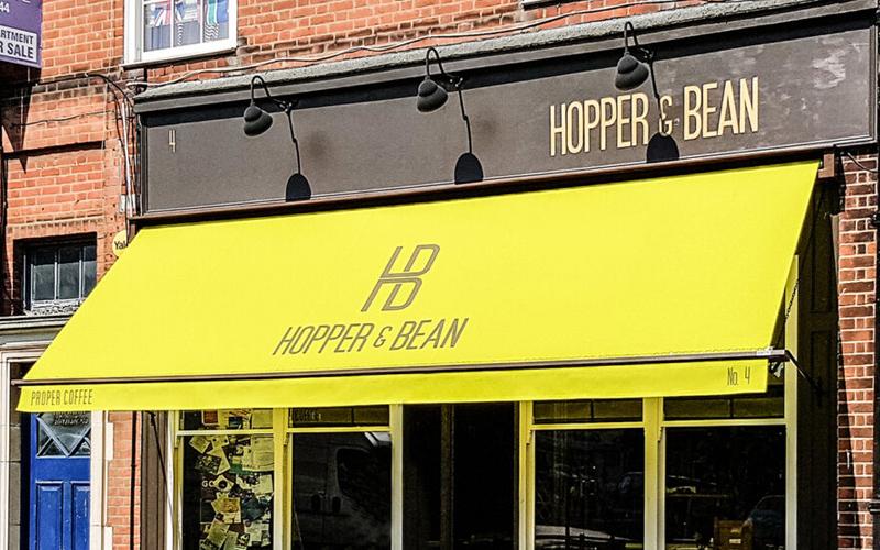 Branded Awnings by Deans for Hopper & Bean