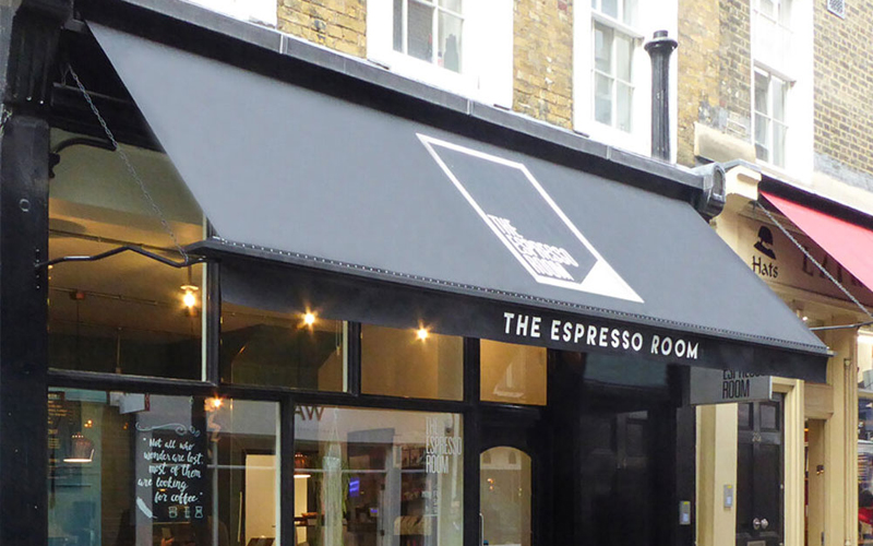 Branded awnings by Deans for The Expresso Room